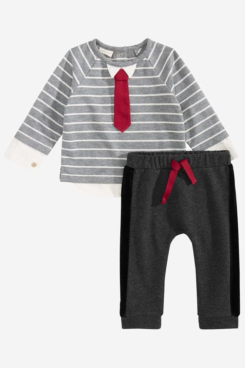 Baby Boys 2-Pc. Striped Necktie T-Shirt & Pants, Grey/Black