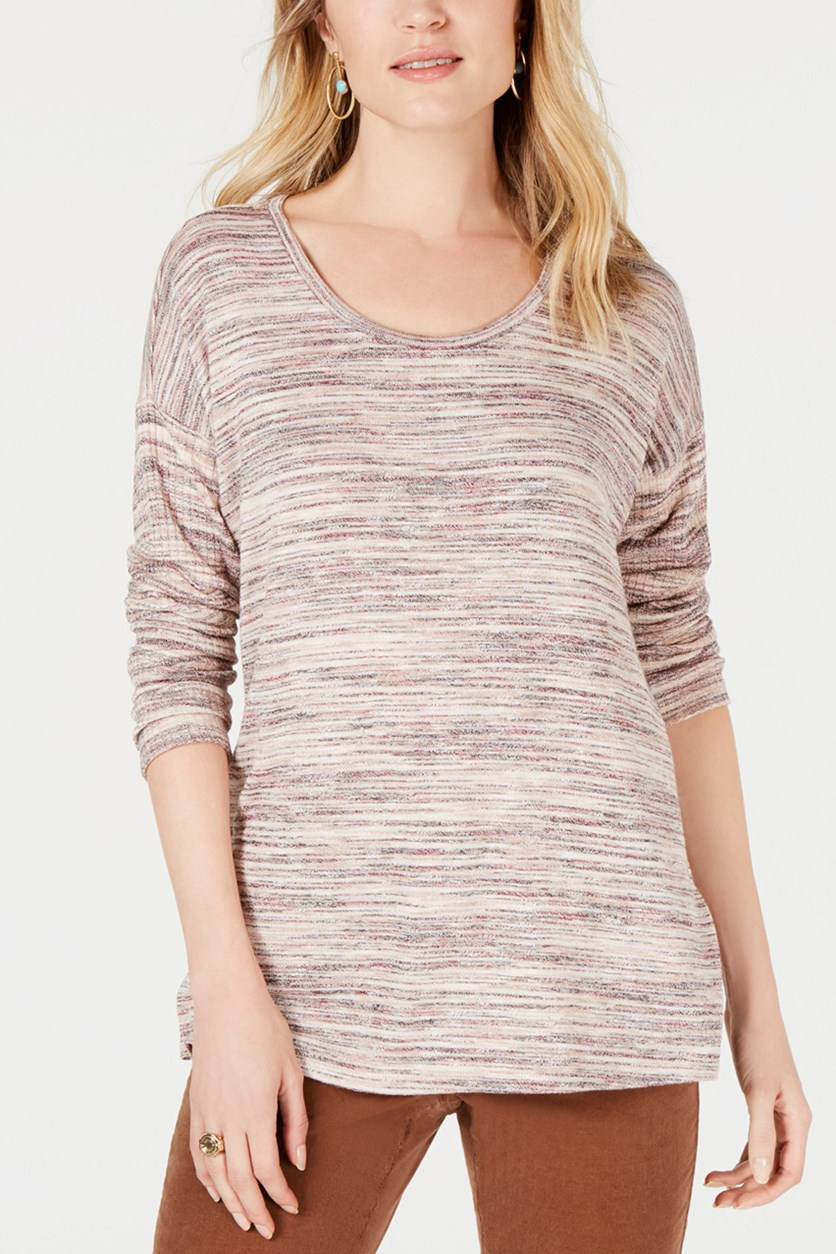 Space Dye Scoop-Neck Top, Warm Blush