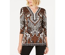JM Collection Women's Petite Printed Tunic, Magnolia Medal