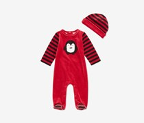 Baby Boys 2-Pc. Coverall & Hat Set, Dark Ruby
