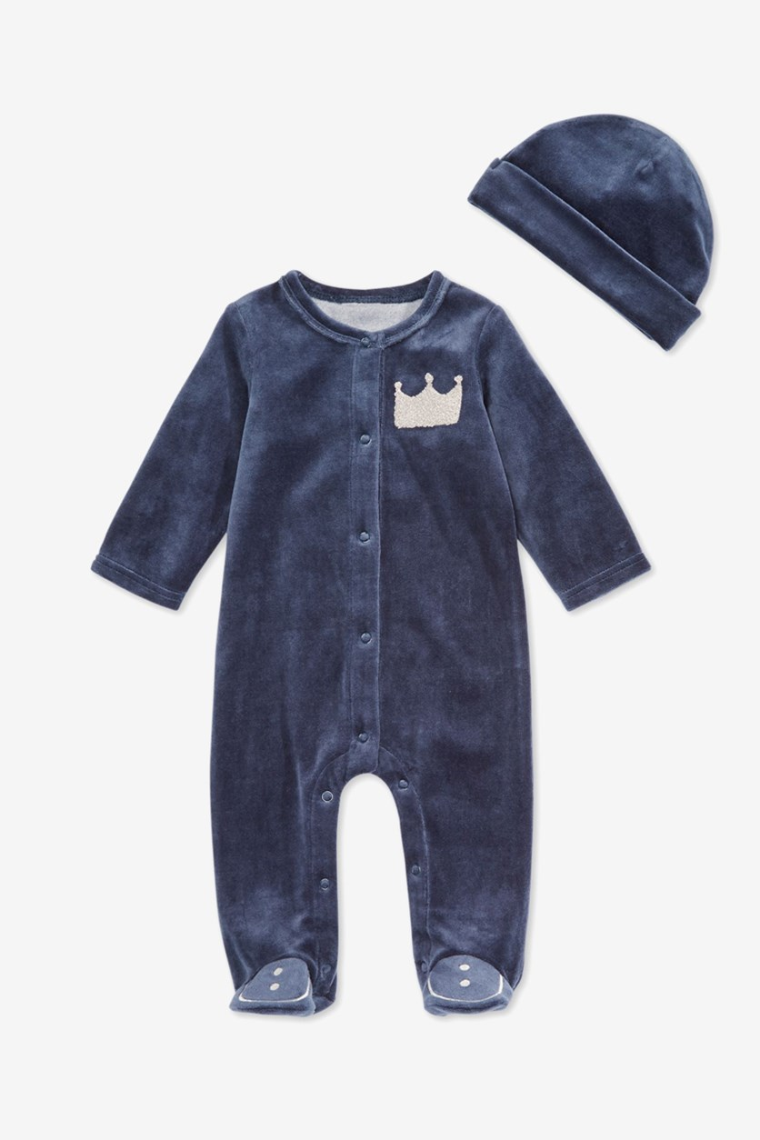 Toodler Boy's Velour Crown Footed Coverall & Hat Set, Blue
