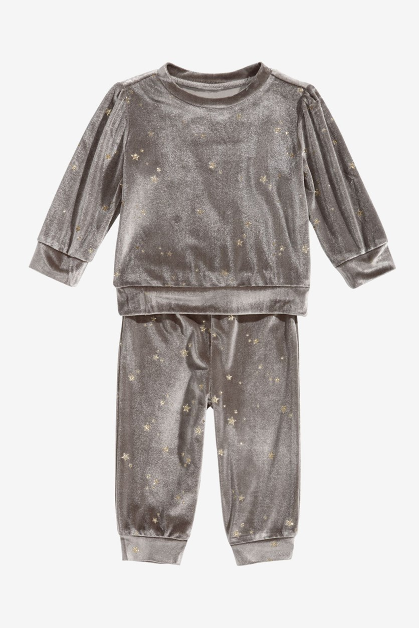 Baby Girls 2 Pc. Glitter Velour Sweatshirt & Pants Set, Hazel Taupe