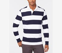 Men's Long Sleeves Rugby Polo Shirt, White/Navy