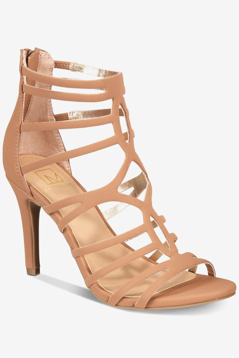 Pixie Strappy Heeled Sandals, Tan