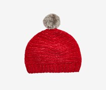 Toddler Boys & Girls Chenille Beanie with Faux-Fur Pom, Red