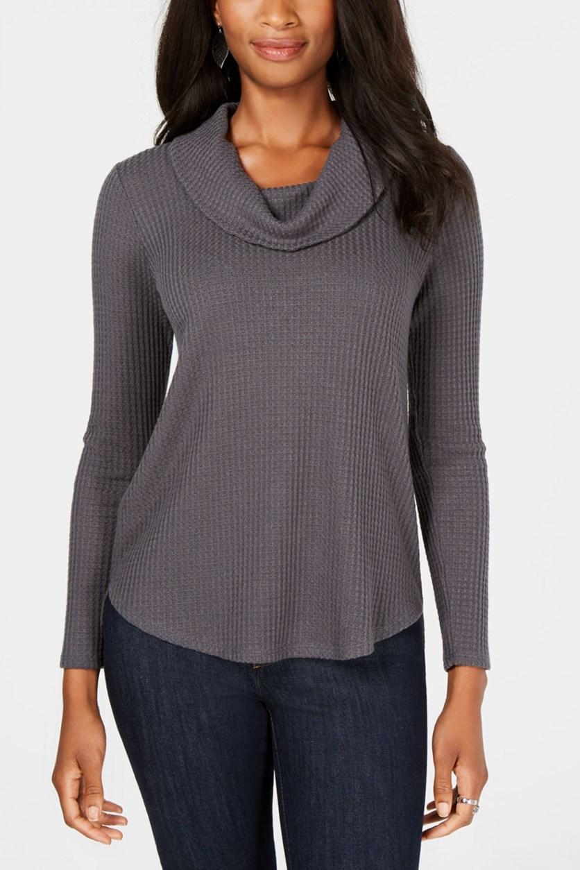 Cowl-Neck Waffle Top, New Graphite Grey