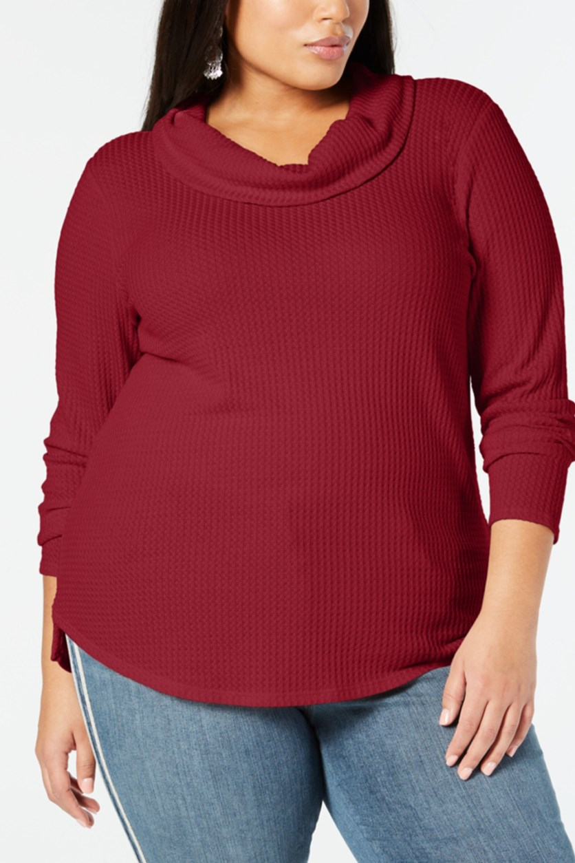 . Women's Waffle Knit Long Sleeves Blouse, Canyon Red