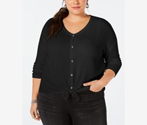 Plus Size V-Neck Thermal Top, Deep Black