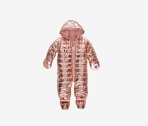 Baby Girls Metallic Puffer Snowsuit, Rose Gold