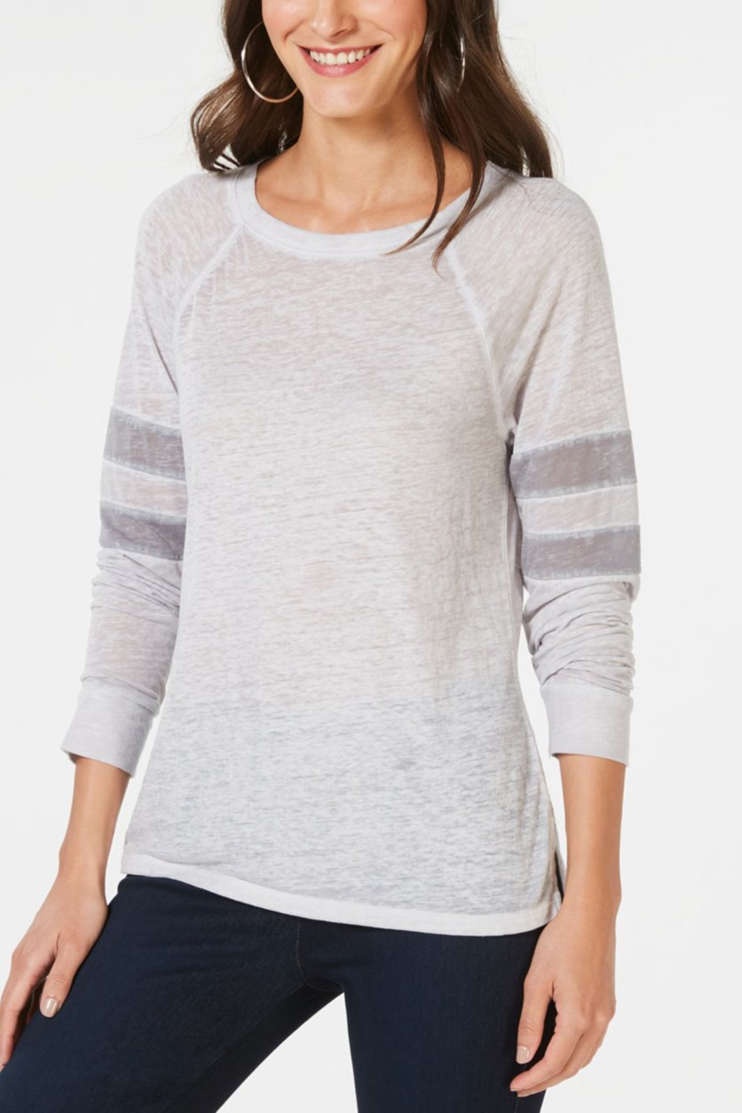 Varsity-Stripe Top, Light Gray