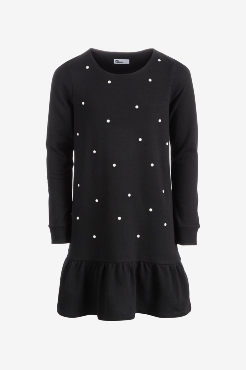 Big Girl's Pearl-Trim Sweatshirt Dress, Black