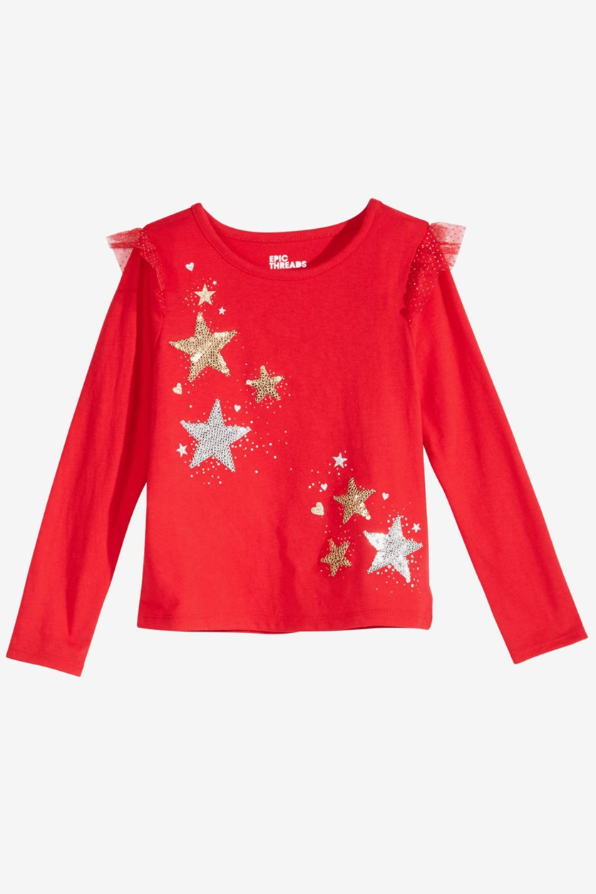 Girls Star-Print Ruffled T-Shirt, Tango Red