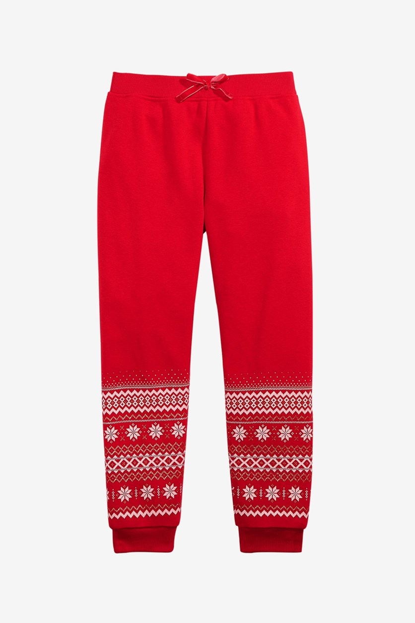 Girls Border-Print Jogger Pants, Red