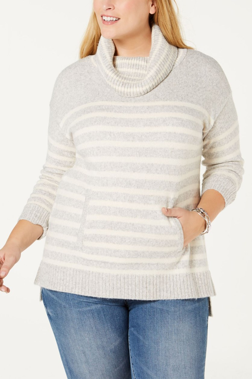 Petite Striped Cowl-Neck Sweater, Ivory/Grey
