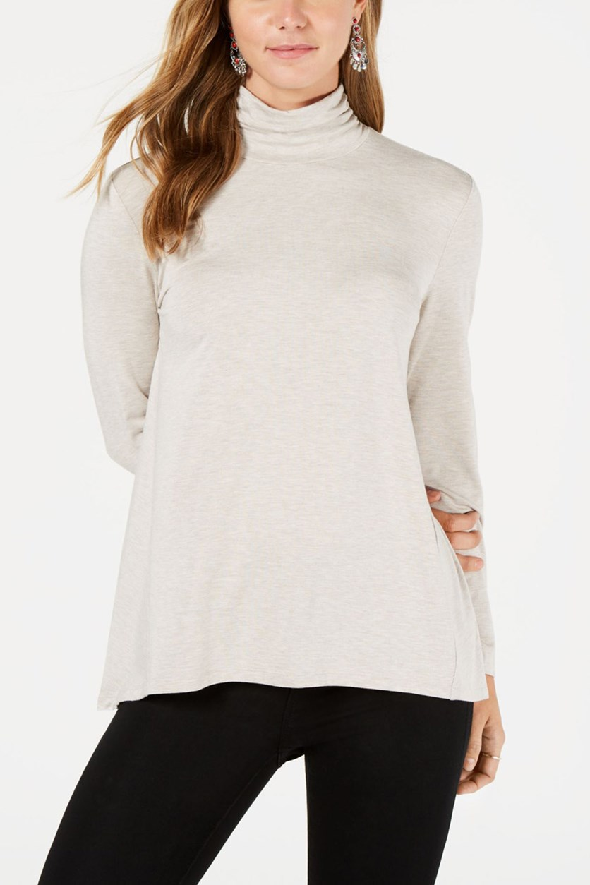 Mock-Neck High-Low Top, Hammock Heather