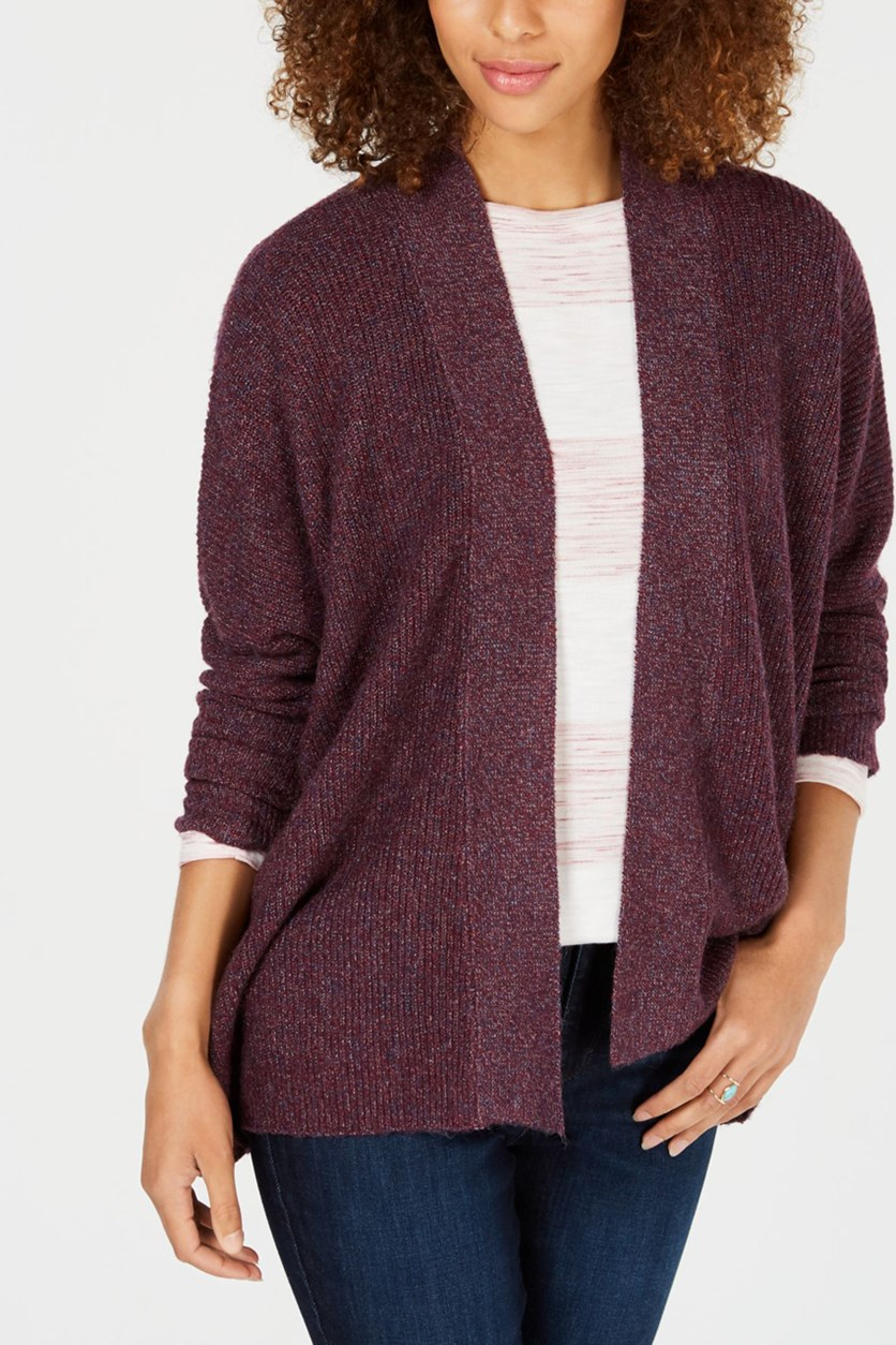 Women's Ribbed Open-Front Cardigan, Plum Marl