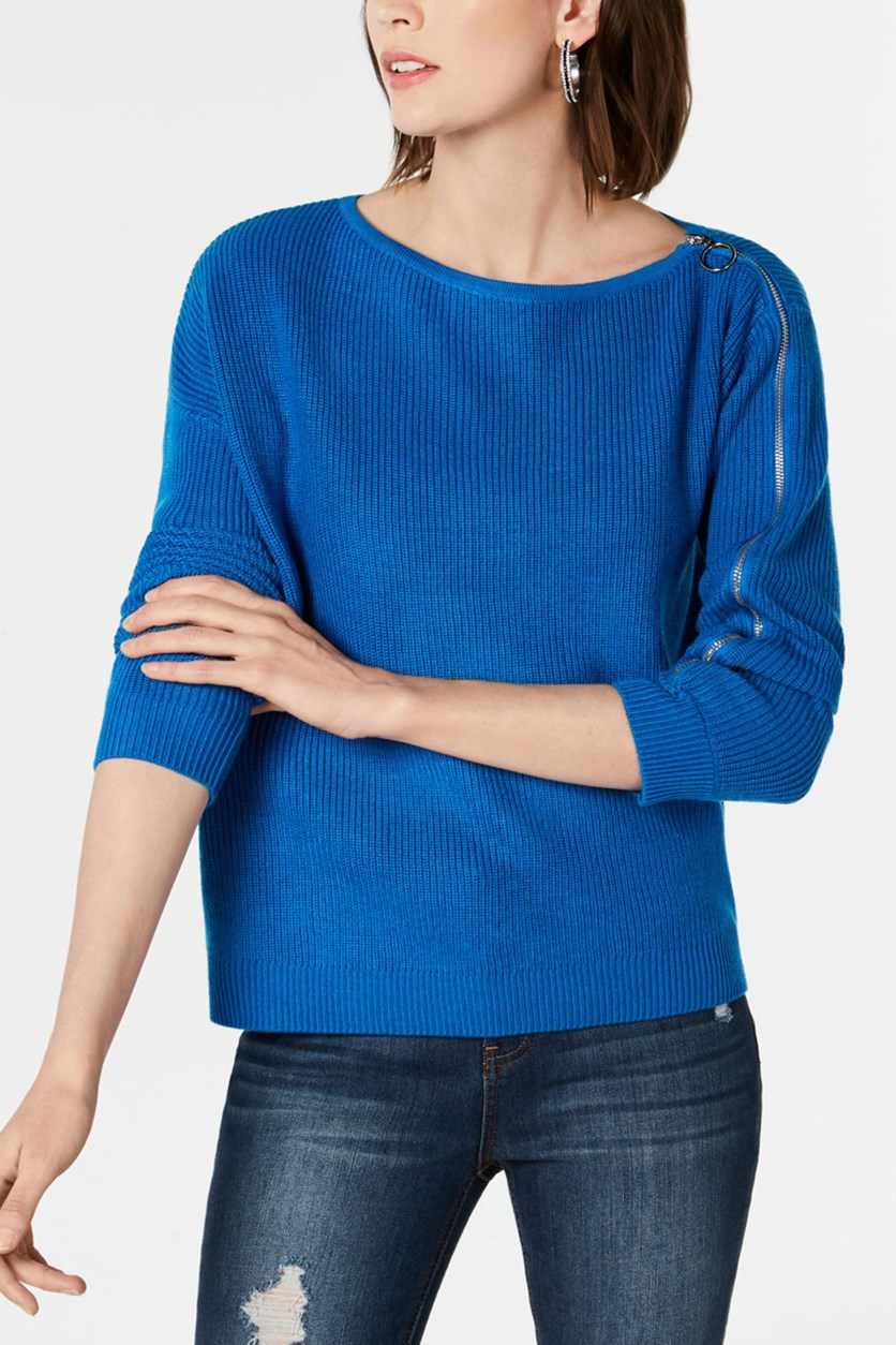 Ribbed Zipper-Sleeve Sweater, Beacon Blue