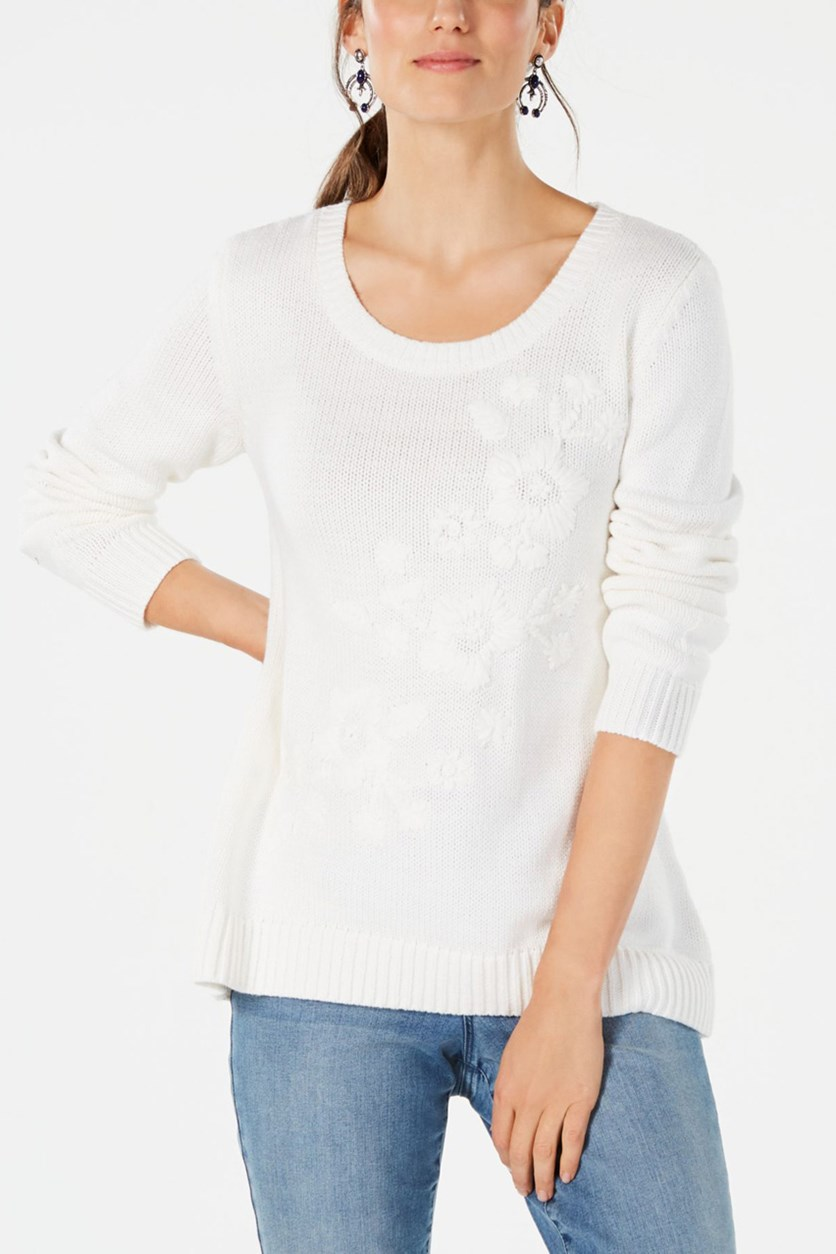 Floral-Embroidered Sweater, Winter White
