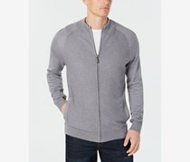 Club Room Mens Textured Zip Up Cardigan Sweater, Smooth Silver
