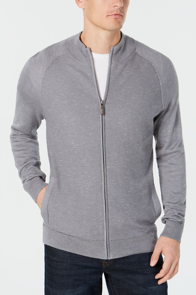 Mens Textured Zip Up Cardigan Sweater, Smooth Silver