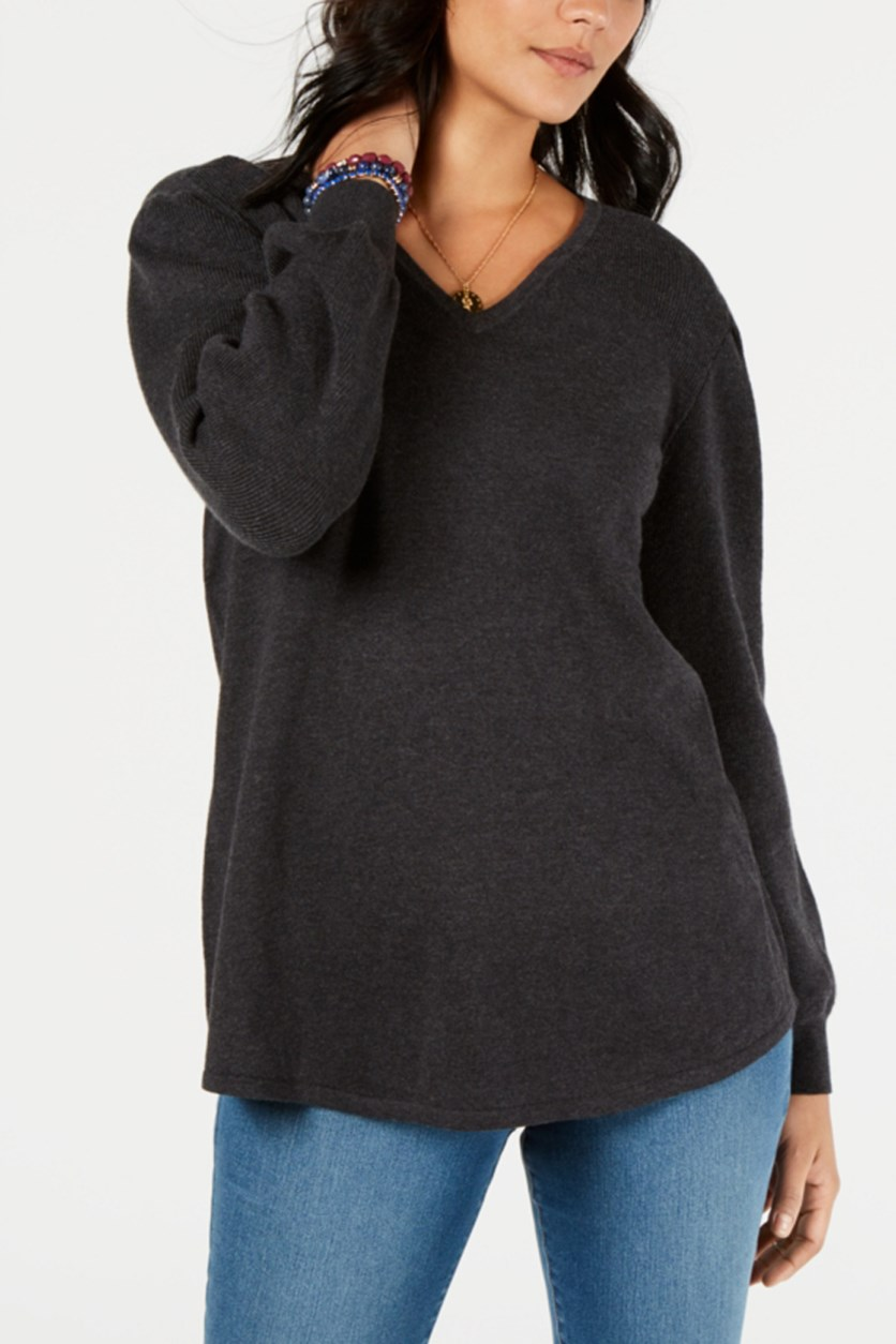 Women's V-Neckline Sweater, Black Heather