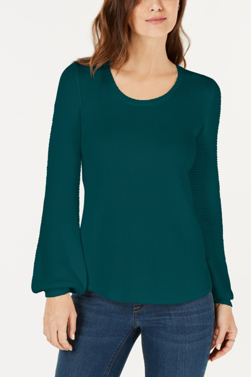 Women's Textured Sleeve Sweater, Rare Emerald