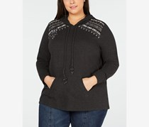 Style & Co Plus Size Cotton Embroidered Embellished Hoodie, Floral Heather
