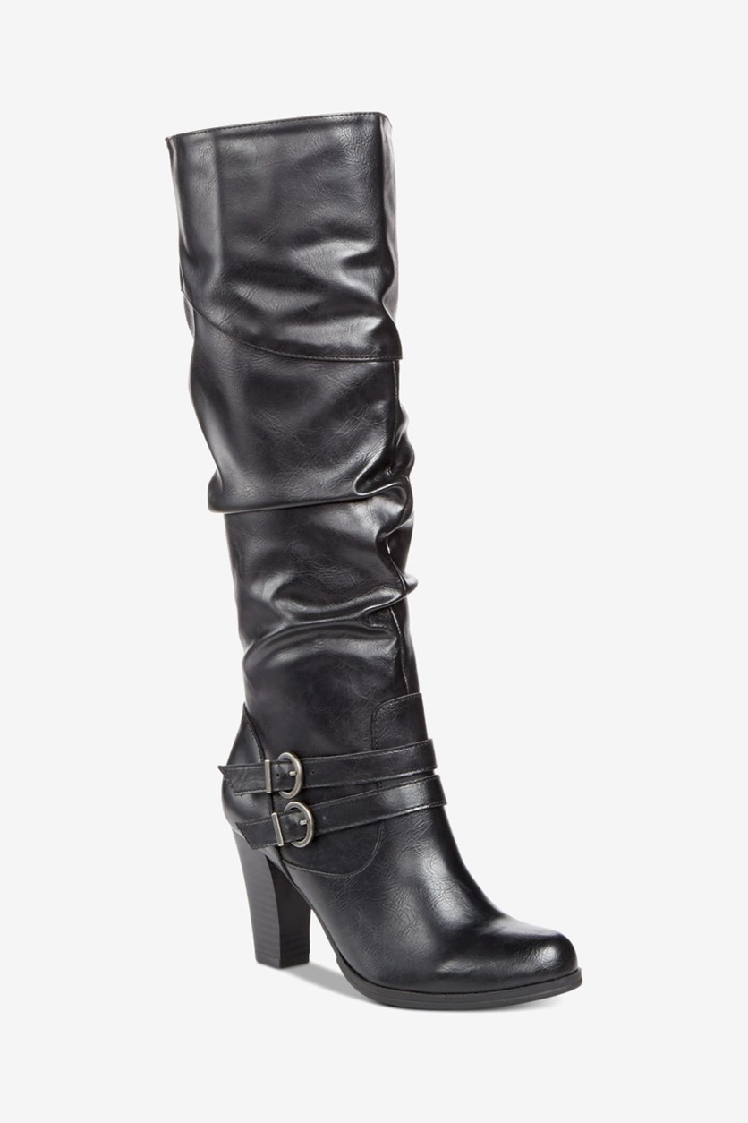 Women's Sana Knee High Fashion Boots, Black Smooth