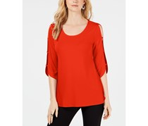 JM Collection Women's Petite Ladder Sleeve Top, Hot Red