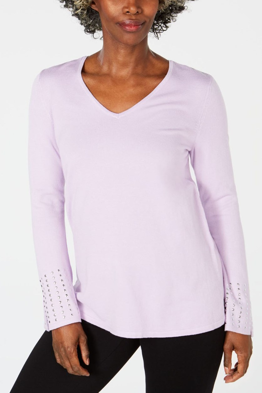 Embellished-Sleeve Sweater, Purple