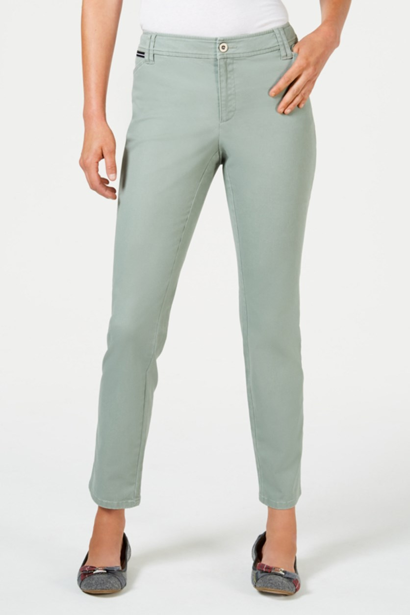 Women Petite Chino Pants, Sage Green
