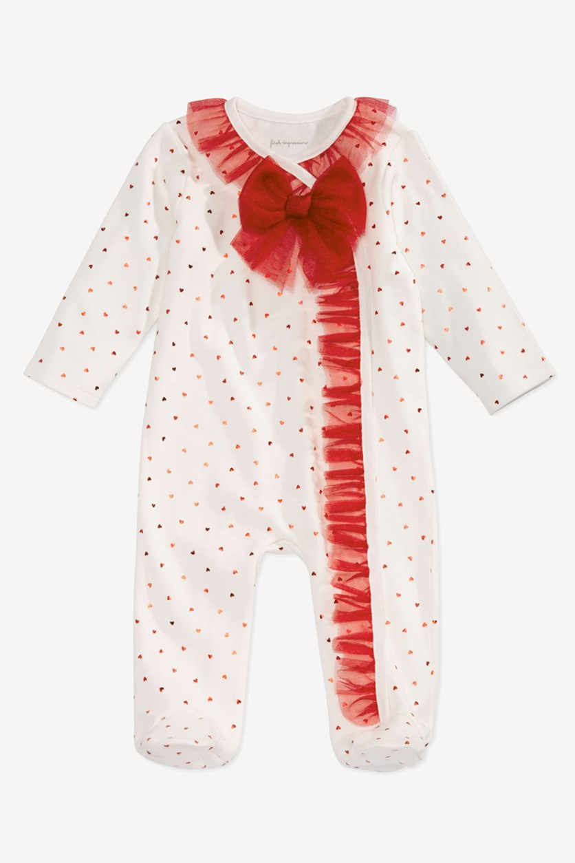 Baby Girls Tulle Coverall, Red/White