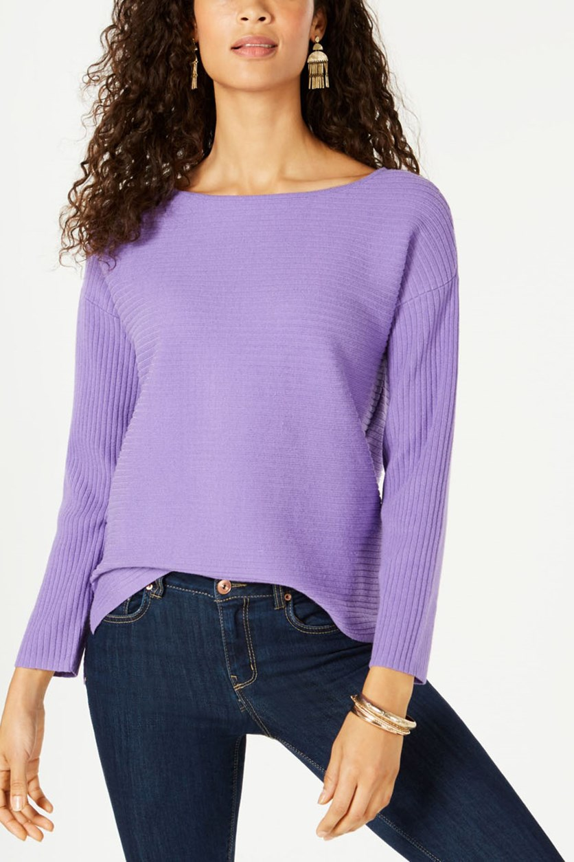 Women's Ribbed Boat Neck Sweater, Lilac Kiss