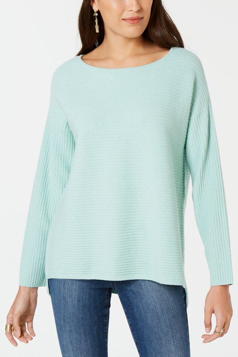 Women's Ribbed Boat Neck Sweater, Mint Ice