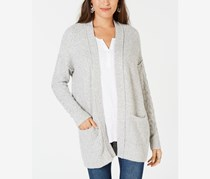 Marled Open-Front Cardigan, Grey Combo
