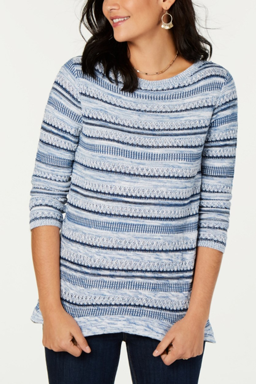 Women's Striped Sweater, Blue Combo
