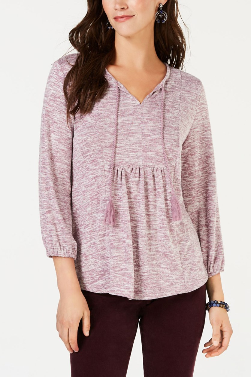 Women's Pleated Tassel-Tie Top, Tender Mauve