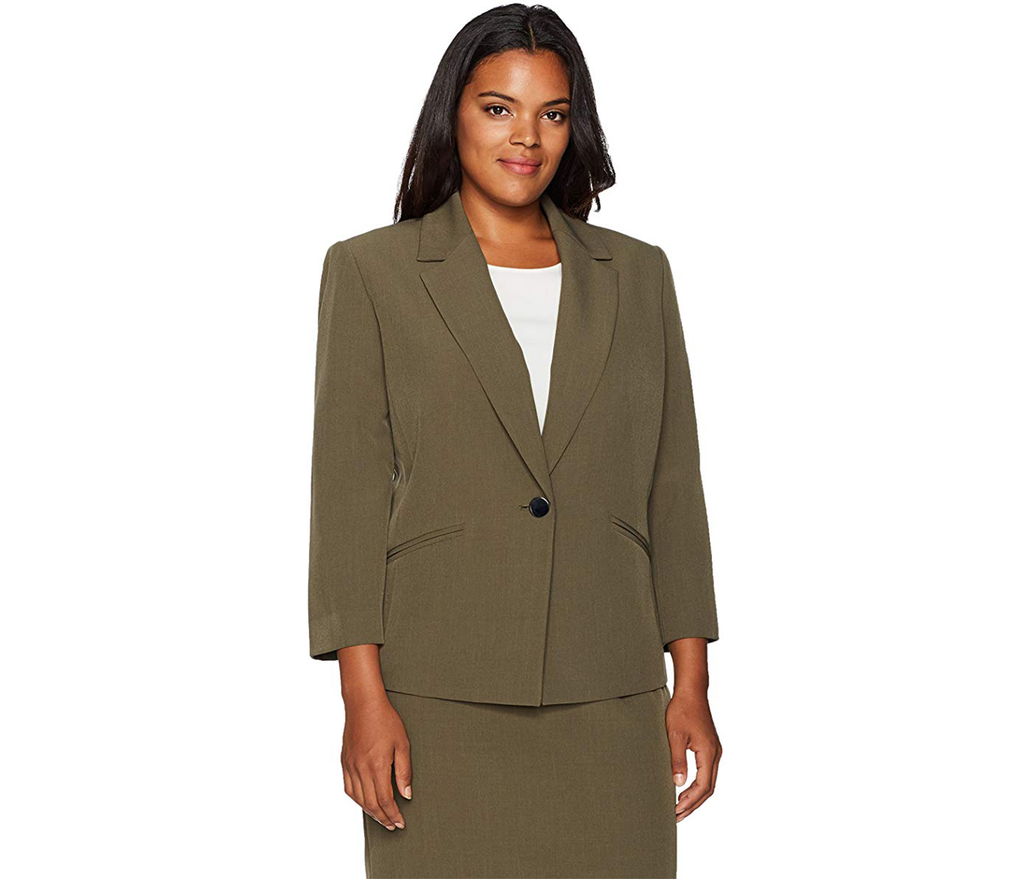 Kasper Women's Plus Size 1 Button Solid Jacket, Olive
