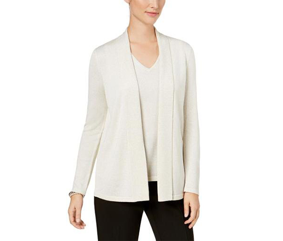 Kasper Women's Metallic Open Front Cardigan Sweater, Off White