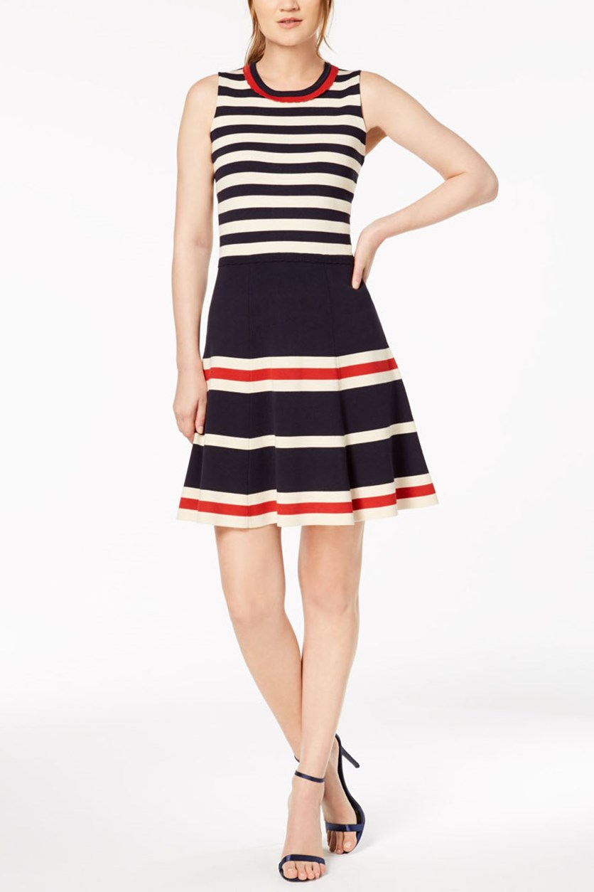 Women's Striped Fit & Flare Dress, Dark Blue Combo