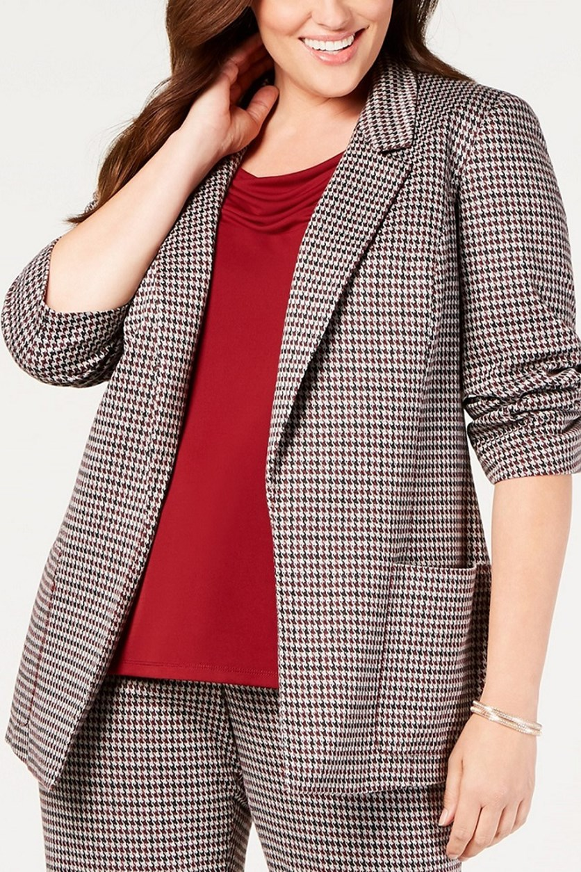 Plus Size Darted Pocketed Herringbone Blazer, Maroon/Black