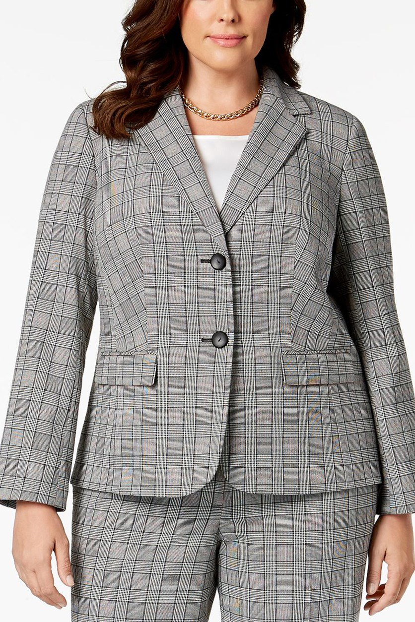 Plus Size Plaid Jacket Blazer, Cinnamon/Black Combo