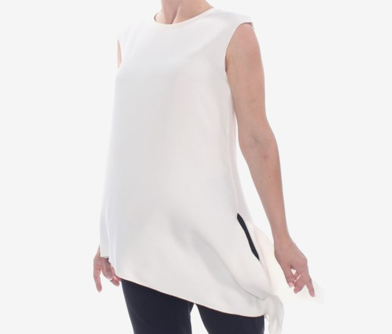 Asymmetrical Fluid Crepe Blouse, White