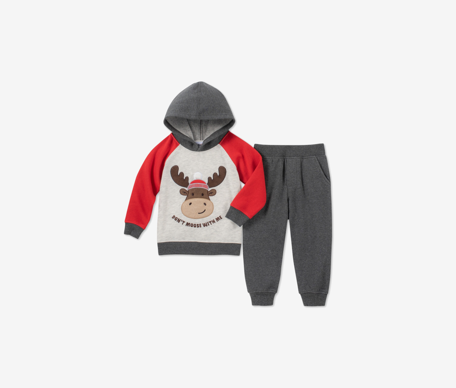 Boys 2pc.Moose Hoodie & Joggers Set, Gray Combo