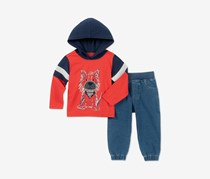 Kids Headquarters Baby Boys 2-Pcs. Dog-Print Hoodie & Denim Jogger Pants Set, Red/Denim