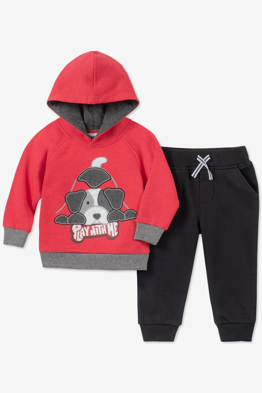 Baby Boys 2-Pc. Dog Hoodie & Jogger Pants Set, Black/Red