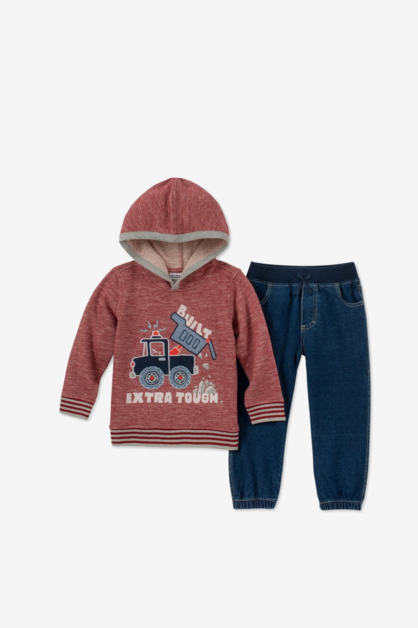 Toddler Boys 2-Pc. Marled Truck Hoodie & Jeans Set, Assorted