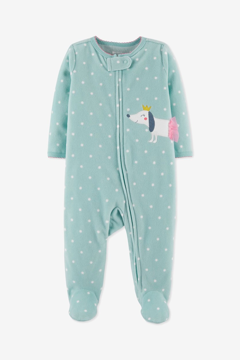 Carter's Toddler Girls 1-Pc. Dot-Print Dog Footed Coverall, Turquoise
