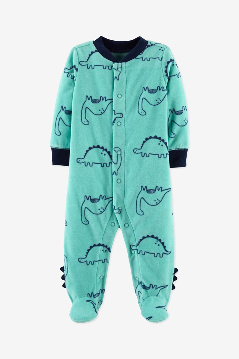 Toddler Boy's Dino Spike Fleece Footed Sleeper, Turquoise