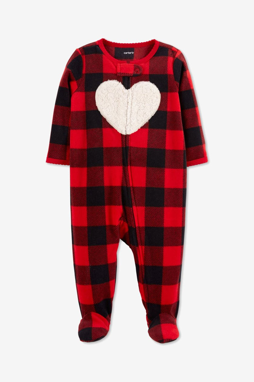 Check Zip-up Fleece Sleep & Play Footies, Red